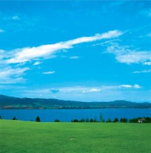 Blick über den Golfplatz in Weyregg